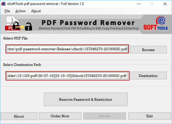 Click to view PDF Password Remover 1.0 screenshot